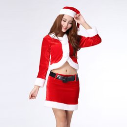 Clothing single pieCes online shopping - Personalized Belt Decoration Red Costumes Sexy Belly Button Christmas Costumes Feature Splicing Pure Color Christmas Clothing