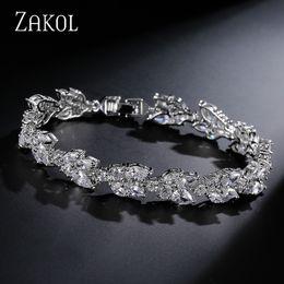 Girls plastic jewelry sets online shopping - ZAKOL High Quality Clear White Cubic Zirconia Leaf Pattern Bracelets Bangles For Women Girl Gift Fashion Wedding Jewelry FSBP001 L18101305