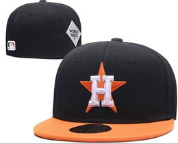 black baseball caps 2019 - Top Quality Men's Sport On Field Design fitted hat flat Brim embroiered letter team logo fans baseball Hats size fu