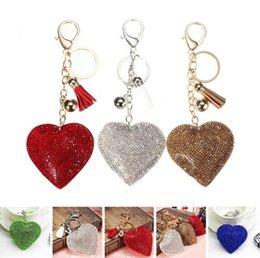 $enCountryForm.capitalKeyWord Canada - 1Pc Heart Shaped Crystal Rhinestone Handbag Keyfob Pendant Keychain Bag Keyring Key Chain