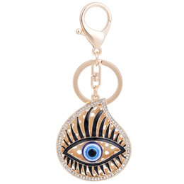 resin keychain UK - Fashion Punk Key Ring Chains Clear Crystal Round Charm Eye Pattern Keyholder Gold Color Keychain Jewelry For Women Men