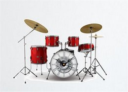 Wall Stickers Rock Australia - 3D Fashion Drums Listening to Music Wall Clock Stickers Modern Design Rock N Roll Home Decor Wall Watch For Music Lover Gift