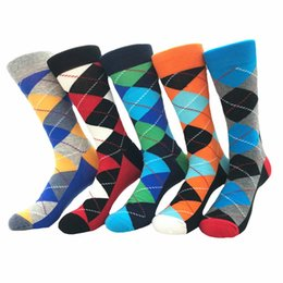 $enCountryForm.capitalKeyWord NZ - 10pc=5 pairs New cotton fashion casual comfortable men's socks contrast color diamond lattice multicolor cotton men's socks