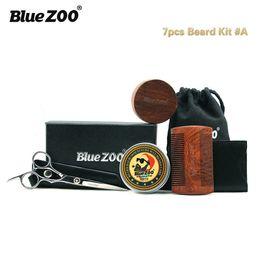 Wholesale BlueZOO Beard Grooming Trimming Kit Beard Growth Gift Set for Men Shaping Moisturising Mustache Beard Balm Butter Wax Brush Comb Scissors