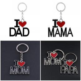 $enCountryForm.capitalKeyWord NZ - Fashion I Love DAD MOM MAMA PAPA Keychain 4 Styles Letter Red Heart Love Key Rings Car Handbags Keychains Jewelry For Mother Father D275LR