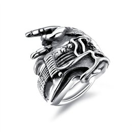 skeleton guitars 2019 - Personality Punk Men's Ring Guitar & skeleton Design Stainless Steel cool Male Boy Finger Band Jewelry Gift size 7-12 ch