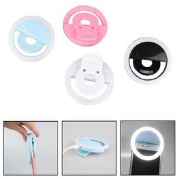 Selfie Lente del anillo de destello del LED belleza Llenar Clip de la lámpara de la luz del teléfono móvil para la cámara de la foto para el teléfono celular