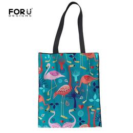 Linen Women Cloth NZ - FORUDESIGNS Women Totes Linen Handbags 3D Flamingo Girls Folding Shopping Bags Summer Environmental Protection Female Cloth Bags