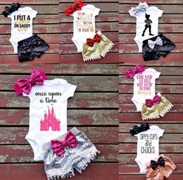 Girl hair zebra online shopping - Baby girl INS letters rompers suit Style Children Short sleeve triangle rompers paillette shorts bowknot Hair band sets clothes