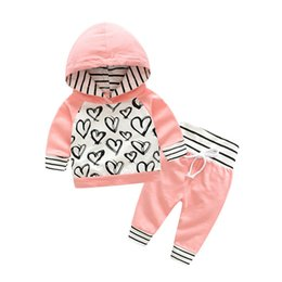 Chinese  Fashion Cute Infant Baby Girl Clothes Sets Hooded Long Sleeve Sweatshirt Striped Pants 2pcs Outfit Cotton Baby Tracksuit Set manufacturers