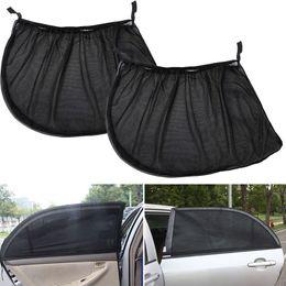 Discount front end car - 2PCS Mesh Fabric Car Rear Side Window Sun Visor Shade Cover Sunshade Curtain Shield UV Protection Auto Sun Shade Black