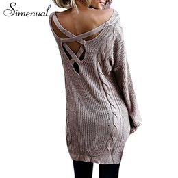 fc776cacc1 Simenual Back lace up women sweaters and pullovers autumn winter twist long  pullover female casual v neck sexy knitted jumpers