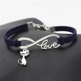 $enCountryForm.capitalKeyWord NZ - Boho Fashion Simple Style Infinity Love Cat Fox Pendant Bracelets Cute Starfish Navy Blue Leather Suede Rope Bangles For Womens Mens Jewelry