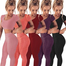 Tennis women sexy online shopping - Sexy Solid Women Sport Tracksuits Women Short Crop Shirt And Skinny Long Pant pc Set Night Club Suit