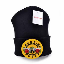 Discount gun cotton - Guns N' Roses logo Wool Beanies 6 colors Knit Men's Winter Hats For Men Women Beanie Warm hat Crochet hat cott