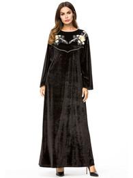$enCountryForm.capitalKeyWord Canada - ArtSu 2018 Winter Women O-Neck Long Sleeve Loose Floral Embroidery Black Velvet Dress Female Chic Long Party Maxi Dress Robe