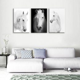 Large Painting Bedroom NZ - White Horse Wall Art Canvas Prints Modern Art Home Decor For Living Room Bedroom Pictures 3 Panel Large HD Printed Painting