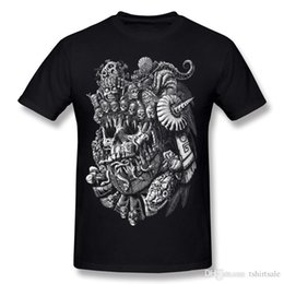 round skull NZ - High Quality Mens Cotton Aztec Skull King T Shirt Mens Round Collar White Short Sleeve Tees Shirts Plus Size Normal T Shirt