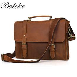 Handmade Leather Briefcases Canada - Brand Men Crazy Horse Genuine Leather  Messenger Shoulder Bag Vintage Casual 29384c33634ac
