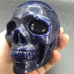Crystal Heads Australia - Sodalite Skull Crystal Blue vein stone Heads CrossBones Glyptic candy Crania Natural Tumbled Stone Reiki Polished Crafts Gift Rough Mineral