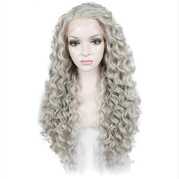 $enCountryForm.capitalKeyWord Australia - Free Shipping Gray Long Kinky Curly Wig Lace Front Wigs Women Heat Resistant Fiber Hair Glueless Grey Color Synthetic Lace Wig Cosplay