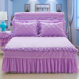 pink ruffle bedspread 2019 - Free Shipping 3Pcs Princess Lace Purple Pink Beige Bed skirt King Queen Full Size Home Decorative Ruffles Bedspread Pill