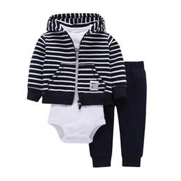 1c85fdb8821 Baby girl boy clothes stripped Spring 2018 hooded zipper coat + pants +  romper 3 pcs set 1st birthday gift roupas de menino