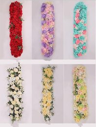 House Plates Australia - 25x100cm Wedding Decoration rose Flower row artificial silk Road cited flowers Arched DIY Background flower wall Window decoration