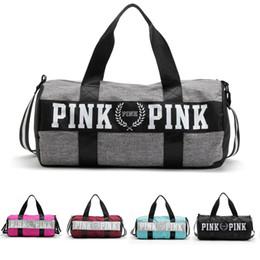 Large canvas duffeL bags online shopping - Pink Letter Duffle Bag Travel Bags Handbag Large Capacity Waterproof Women Beach Bag