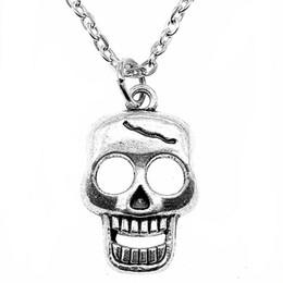 Necklaces Pendants Australia - WYSIWYG 5 Pieces Metal Chain Necklaces Pendants Vintage Necklace Handmade Skull 23x12mm N2-B10975