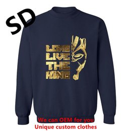 vintage clothes black white men 2019 - Dropshipping 3D Hoodies Men Black Panther Hoodies Long live the king Gold Men streetwear Swearshirt Vintage Clothing Top