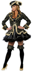 Discount adult women pirate costumes - Adult Deluxe Floral Lace Costume Halloween Party Sexy Women Pirate Captain Cosplay Costume With Hat