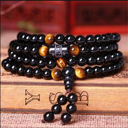 6mm Mala Beads Australia - 2018 Natural Obsidian beads Bracelets 6mm 108 Tiger Eye Stone Lover's strand bracelet Buddha mala necklace Jewelry