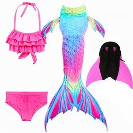 Discount mermaid tail costume for kids - NEW Arrival!Fancy Mermaid tails with Fins  Flipper mermaid swimming tails for Kids Girls Summer Beach Wear Swimsuits