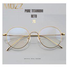 d5388251c6 MUZZ Pure Titanium Round Eyeglasses Frame Optical Frames Unisex Glasses  Retro Eyeglasses Prescription Men Women myopia frames