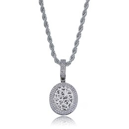 $enCountryForm.capitalKeyWord NZ - Fashion Hip Hop Oval Pendant Necklace Paved Cubic Zirconia Charm Necklaces Jewelry for Men & Women Gift