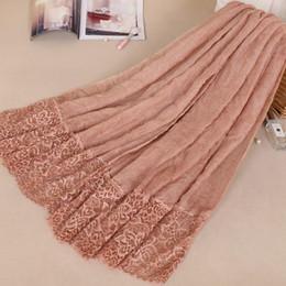 Cotton Viscose Plain Scarves Australia - Women Cotton Viscose Dots Silk Lace Patchwork Ruffles Scarf Shawl Pashmina Head Wraps Elegant Lady Islamic Muslim Fashion Scarves