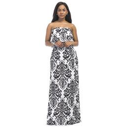 3df7b17a74f7 Vintage Plus Size Dress Ethnic Contrast Printed Dress Strapless Ruffle Long  Gowns 2018 Summer Women Maxi female Robe XXXL