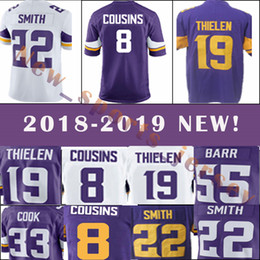 304550544 Minnesota Vikings 8 Kirk Cousins 19 Adam Thielen 22 Harrison Smith Men s  football jerseys 2018-2019 NEW