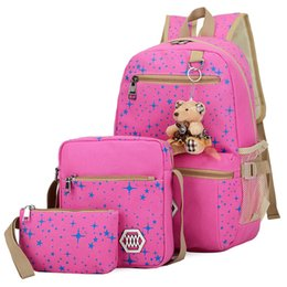 $enCountryForm.capitalKeyWord UK - 44*27*17CM 17.35inch Canvas Composite Bag styles Preppy Backpacks For Teenage Girls Canvas School Bags Cute Bear 3 Set Backpack Female Blue