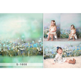 painting pastels Canada - Pastel Green Backdrops for Photography Baby Newborn Photo Studio Props Oil Painting Dandelion Kids Children Photographic Backgrounds
