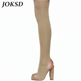 army green thigh high boots 2019 - JOKSD 2017 women thigh high boots over the knee high heel boots peep toe heels woman shoes plus size 3-12 botas mujer X6