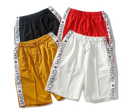 Wholesale S European star brand summer loose contrast color stitching string printing national tide sports shorts tide male basketball fiv