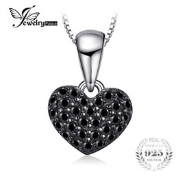 $enCountryForm.capitalKeyWord UK - JewelryPalace Fashion 0.28ct Natural Black Spinel Love Heart Necklaces Pendant Solid 925 Sterling Silver Box Chain Women Jewelry S18101105