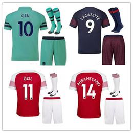 247adb4b5 2018 19 Arsenal Soccer Jersey adult kit with socks football shirt set  Walcott LACAZETTE AUBAMEYANG Camiseta Ramsey OZIL Maillot de Foot