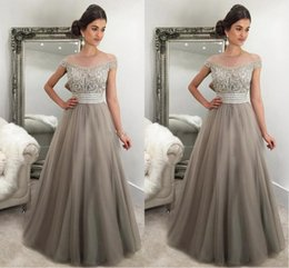 Elastic Off Shoulder Dress Pattern NZ - Silver Gray A Line Evening Dresses 2018 Off Shoulder Beaded Crystal Sash Arabic Tulle Floor Length Arabic Dubai Plus Size Prom Party Gowns