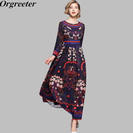 Discount plus size maxi dress xxl - Plus size M-XXL Vestidos verano 2018 Autumn Runway Maxi Dress Women's Long Sleeve Ethnic style pattern Printed Long