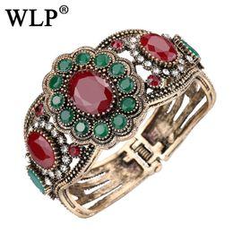 Flower Gift For Love Australia - WLP 2017 New Charm Bracelet Bangle Oval Red Stone Flowers Love Retro Bracelet Turkish Jewelry Best Gifts For Female C1834