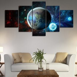 ff2cd2bcba9 Canvas Art Posters Prints HD Wall 5 Pieces Pcs Galaxy Earth Moon Modular Painting  Framework Pictures For Living Room Home Decor