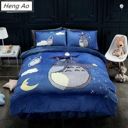 Discount velvet bedding sets - 3D Totoro Twin Queen Size velvet Winter Worm Bedding Set embroider oil print bedding set boys girls bedclothes kids bed